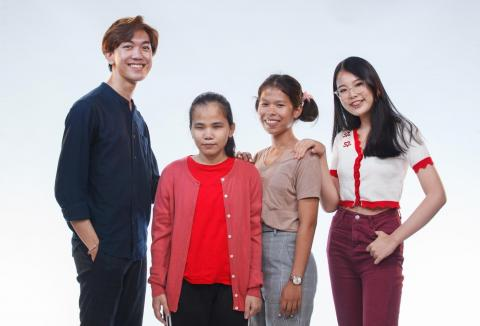 A group photo of young people who shared their stories on UNICEF's The Sound of Happiness special episodes. From left to right: Ame Ammarin Boonsaard, Palm Kamollug Tongdang, Oo, and Ya Prachaya Sirimahaariyapoya.