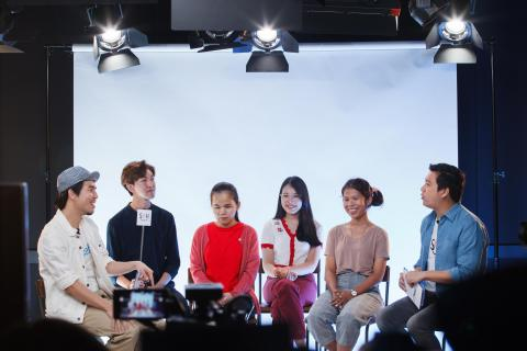 The 4 young people who participated in the special episode of UNICEF Thailand' Sound of Happiness podcast
