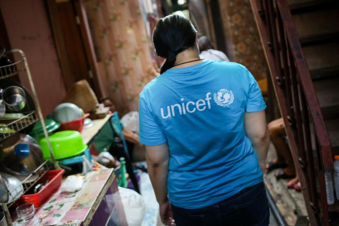 UNICEF staff is distributing supplies to families in Bangkok's poor communities
