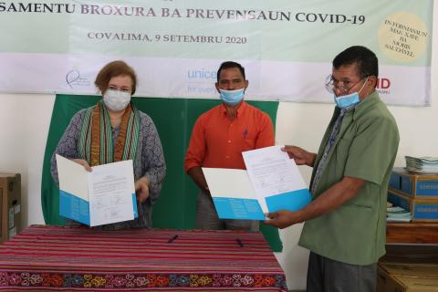 UNICEF Timor-Leste and USAID support the establishment of health promotion corners and bolster COVID-19 prevention in  Covalima Municipality