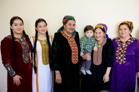 Women and girls in traditional Turkmen clothing