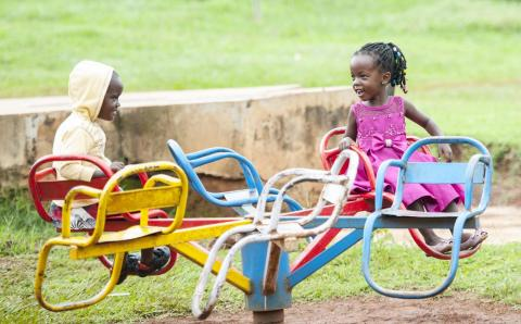 children, play, Uganda, boy, girl, immunization