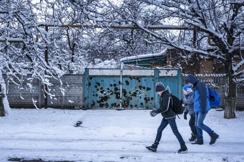 Sasha Sechevoi, 12, walks to school in the town of Avdiivka, Donetsk Oblast, Ukraine, Monday 27 November 2017.