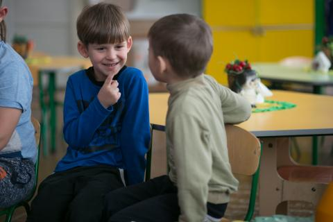 Two boys playing in kindergarten in Popasna, Luhansk region, located 15 km from the contact line. This kindergarten is one of many that received winter assistance from UNICEF.