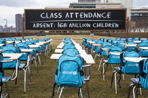 Desks and UNICEF backpacks installed at UN Headquarters