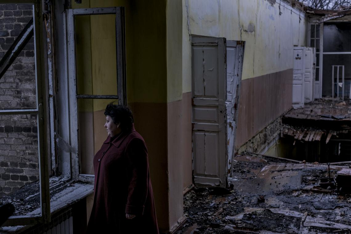 Principle Elena Mihatskaya, 51, at the now abandoned secondary school number 2, in the town of Krasnohorivka, Donetsk Oblast, Ukraine, Monday 20 November 2017. The school, which had been in constant operation since it was rebuilt after being bombed in World War II, was shut down in May 2017, after a shell struck the building, causing massive damage.