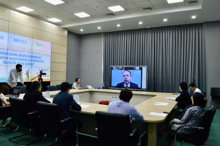 UNICEF Representative speaking during online conference