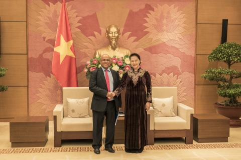 UNICEF Representative in Viet Nam, Mr. Youssouf Abdel-Jelil had a farewell meeting with Madame Nguyen Thi Kim Ngan, Chairperson of Viet Nam National Assembly as he completes his tenure of duty in Viet Nam