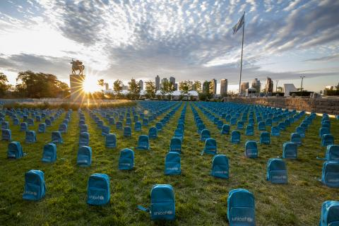 UNICEF installation unveiled at the United Nations headquarters shows the grave scale of child deaths in conflict in 2018.