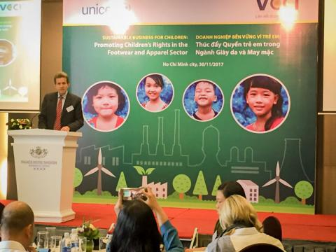 "Mr Jesper Moller, UNICEF Deputy Representative in Viet Nam said ""The footwear and apparel industry employs around 3.5 million workers in Viet Nam, 80% of whom are young women and most of them have migrated from rural areas to take factory job"""