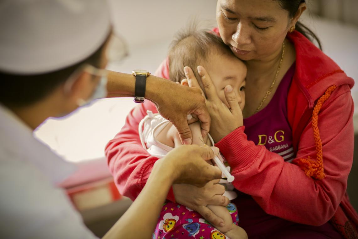 Measles and Rubella immunizations at health care center in Oc Eo district town, Thoai Son, An Giang