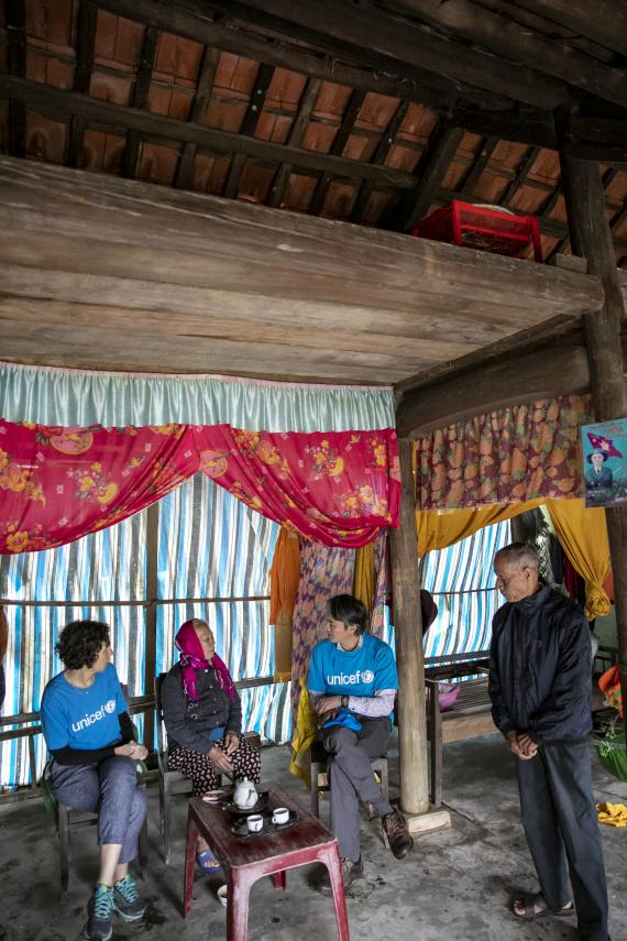 Visit an elderly family Mr Thao and Ms Dung, whose home was hit severely by this year's storm season. They recount their harrowing experience of flood waters rising in their simple one-room home