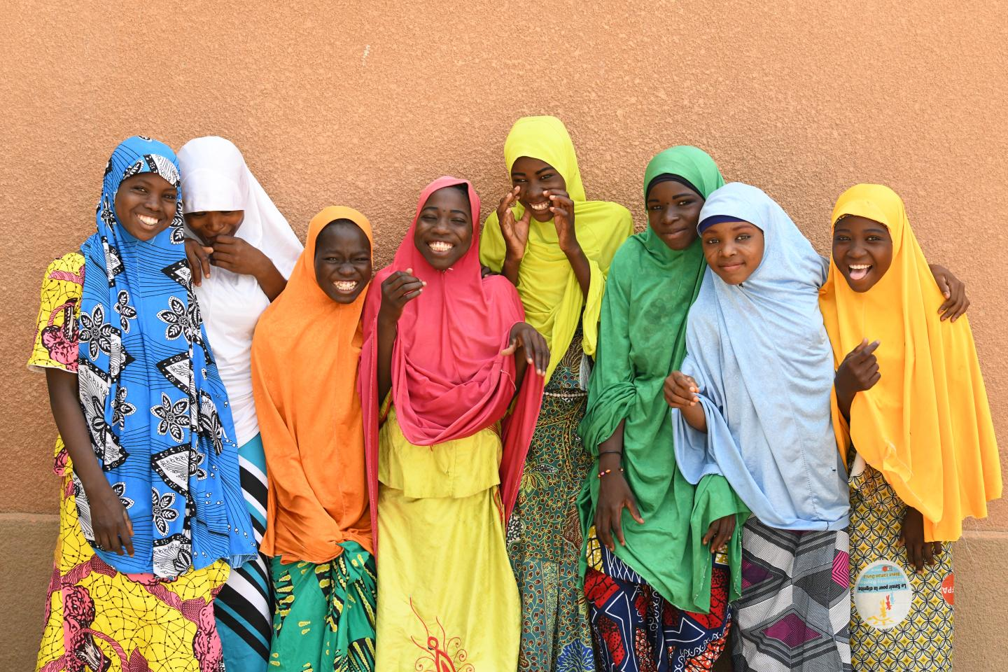 Girls in front of their school in the village of Tamroro, in the center of Niger.