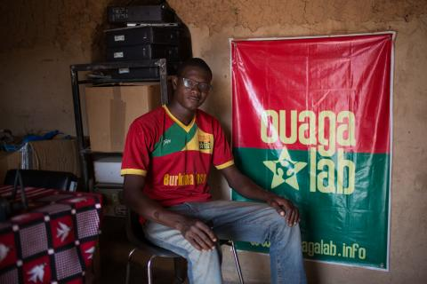Gildas-Guiella, founder of Ouagalab – a coworking space dedicated to empowering youth through technology and computer programming, sits in the Ouagalab co-working space in Ouagadougou, Burkina Faso, 11 March 2016.