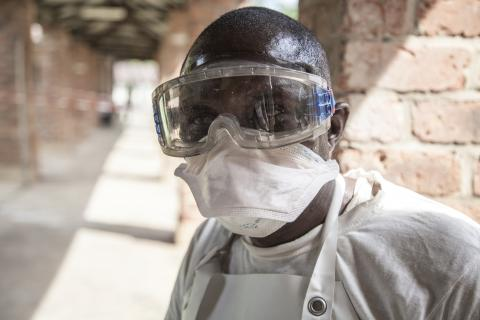 An Ebola health worker at Bikoro Hospital, DRC