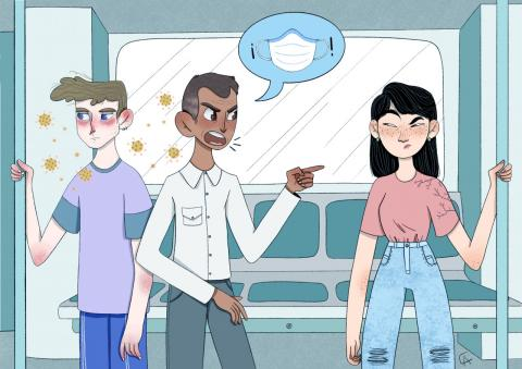 Illustration of man on the bus yelling at an Asian woman for not wearing a mask
