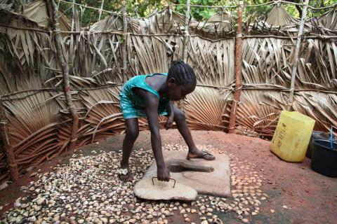 A little girl closing a latrine after use