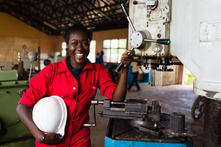 Rosemary Amponsah is training to become a welder at the Rural Enterprises Project in Bechem in the Brong-Ahafo Region of Ghana.