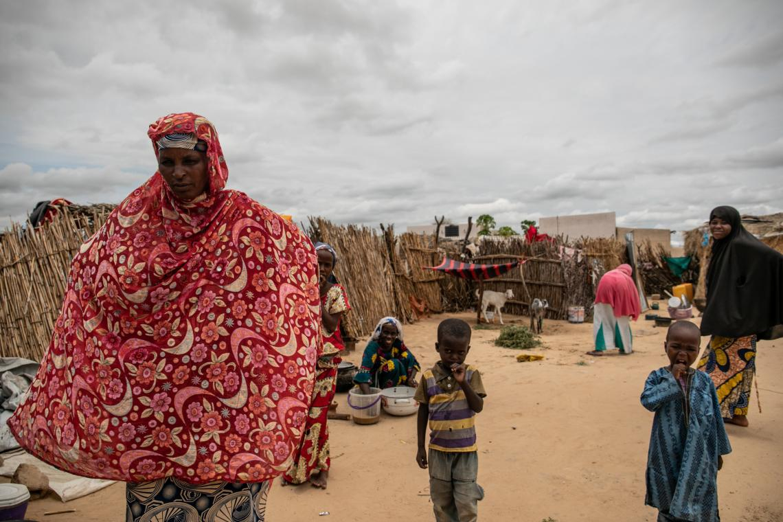 Hadjara shares her living space with other refugee families in Diffa city.