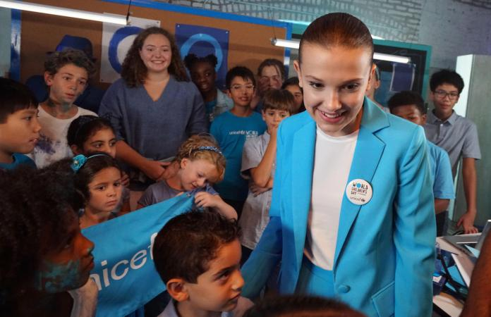 UNICEF supporter Millie Bobby Brown on the set of a video produced for World Children's Day 2018 on 24 August 2018 in New York City in the United States of America.