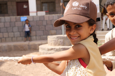 A girl playing at UNICEF-supported child-friendly space in Al Dhale'e.
