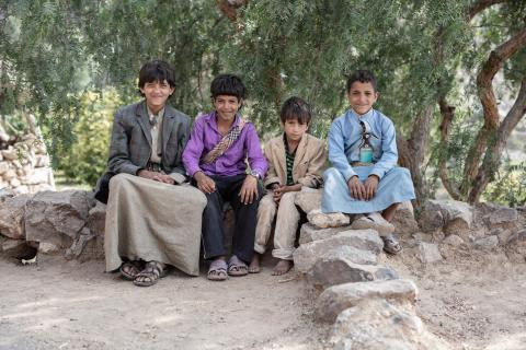 A group of boys in Al-Arq village, Al-Haymah Al-Kharijiyah District, Sana'a.