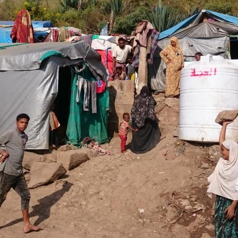 An internal displaced camp in yemen