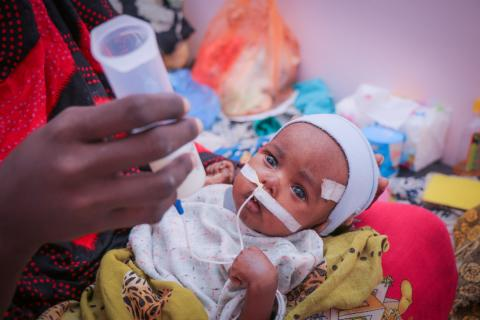Baby Saleh has been in the Al Sabah hospital for 18 days. He is receiving life saving support for severe acute malnutrition and is making a strong recovery.