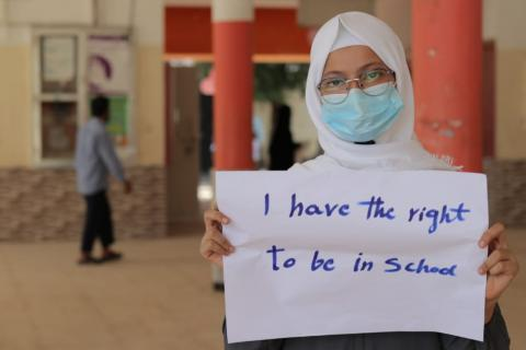 Maram Helmi Saleh, 13 years old, in the eighth grade expressing herself and demanding for her right to be in school.