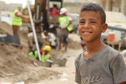 Hani Omar, a 13-year-old fifth-grade student, in Dar Saad district, Aden