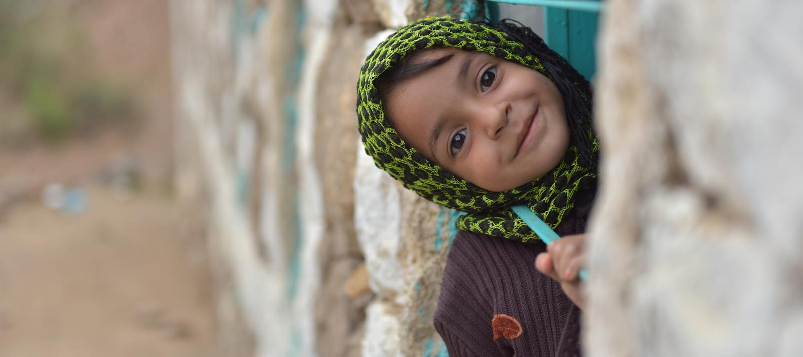 A little girl in a village in Sana'a governorate, Yemen.