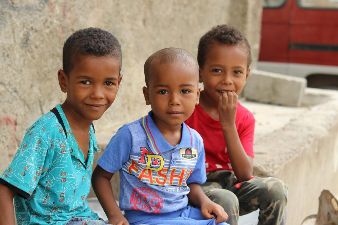 A group of boys in the streets of Dar Saad district in Aden.