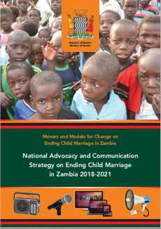 Strategy cover, with photo of young boys in Zambia