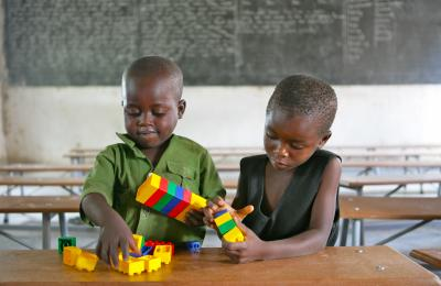 Children playing with toys in an ECD class at Shirichena Primary School, Mhondoro district about 60km south of Harare.
